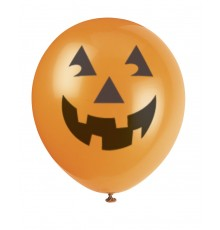 6 Ballons en latex tête de citrouille halloween