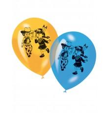 6 Ballons imprimés Cowboy et Indien