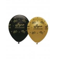 Ballons d'anniversaire noir et or en 6 exemplaires