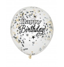 6 Ballons latex confettis Happy Birthday argent et or