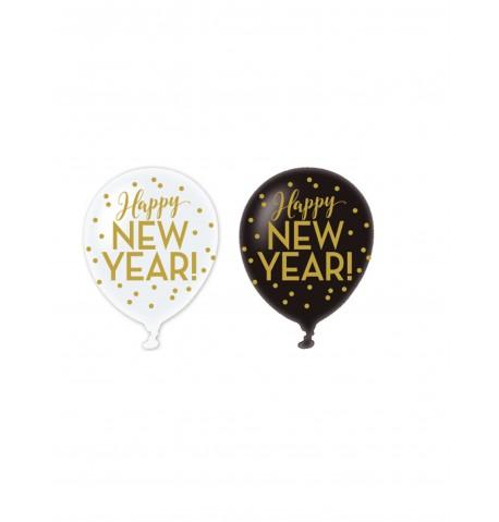 6 Ballons latex Happy new year doré 30 cm