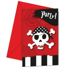 6 Cartes d'invitation + enveloppes carte au trésor pirates