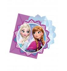 6 cartes d'invitation + enveloppes La Reine des Neiges Flocons