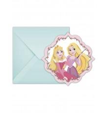6 Cartes d'invitation avec enveloppes Disney Princesses