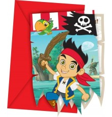 6 Cartes d'invitation Jake et les pirates