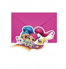 6 Cartes d'invitations et enveloppes Shimmer and Shine 14 x 9 cm
