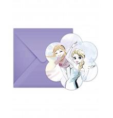 6 Cartons d'invitation + enveloppes La Reine des Neiges
