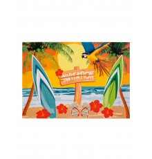 6 Cartons d'invitations Beach party 10 X 15 cm