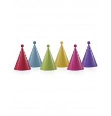 6 Chapeaux de fête colorés avec pompons