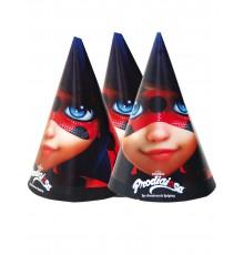 6 Chapeaux de fête Ladybug 16 x 11 cm