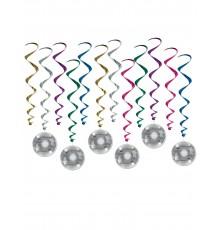 6 Décorations à suspendre spirale Boule Disco