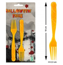 6 Fourchettes oranges avec tête de mort Halloween