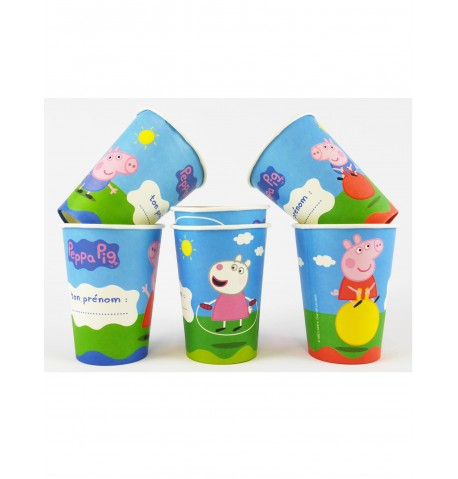 6 Gobelets en carton Peppa Pig 25 cl 9.5 x 7.5 cm