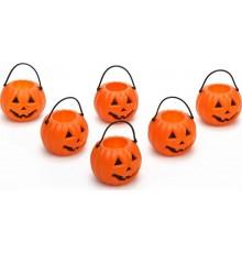6 Mini seaux citrouilles d'Halloween 6.5 cm