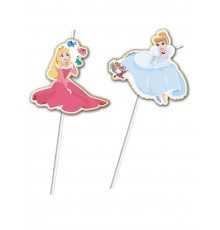 6 Pailles flexibles médaillon premium Princesses Disney