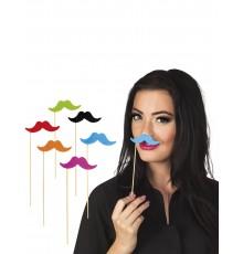 Pack de 6 Pics Moustaches Couleur Fluo