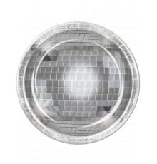 8 Assiettes en carton boule à facettes disco 23 cm
