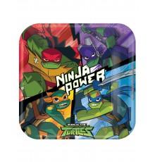 8 Assiettes en carton carrées Le Destin des Tortues Ninja 23 x 23 cm