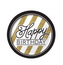 8 Assiettes en carton Happy Birthday Noir et Or 23 cm