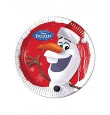 8 Assiettes en carton Olaf Christmas  23 cm