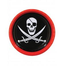 8 Assiettes en carton Pirate tête de mort 23 cm