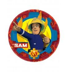 8 Assiettes en carton Sam le Pompier 23 cm