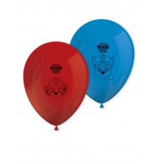 8 Ballons en latex rouge et bleu Pat' Patrouille prêt pour l'action