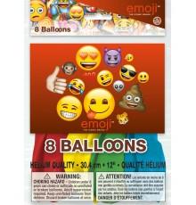 8 Ballons latex imprimés Emoji