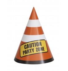 8 Centres de table en carton Caution zone party 14 cm