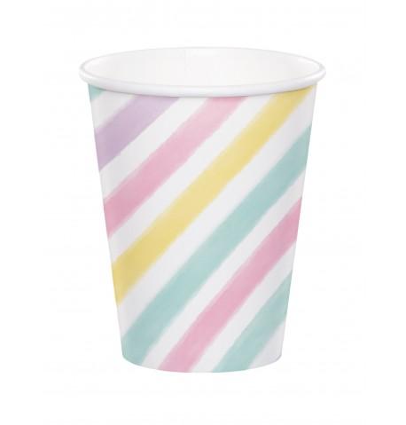 8 Gobelets en carton licorne 256 ml