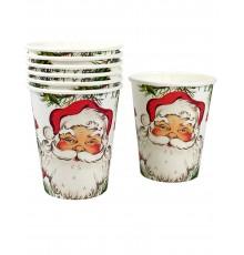 Pack de 8 Gobelets en Carton Motif Père Noël
