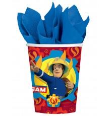 8 Gobelets en carton Sam le Pompier 250 ml