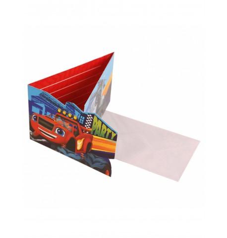 8 invitations et enveloppes Blaze et les Monster Machines
