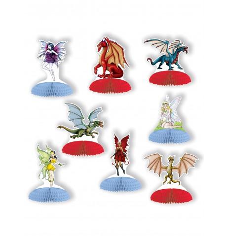 8 Mini centres de table dragons et fées
