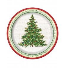 8 Petites assiettes Arbre de Noël 18 cm