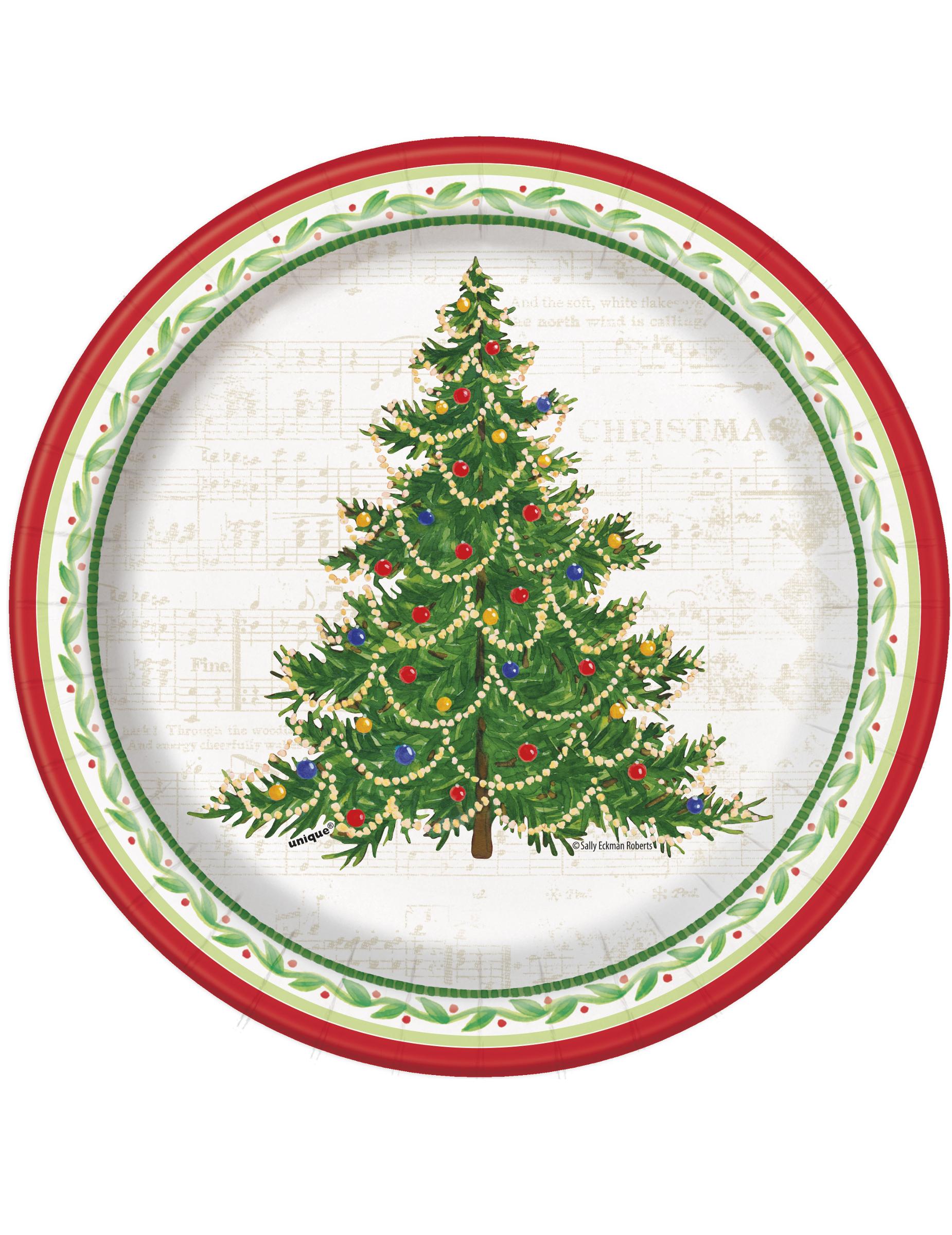 Pack de 8 Petites Assiettes Arbre de Noël