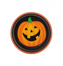 8 Petites assiettes en carton Citrouille souriante Halloween 18 cm