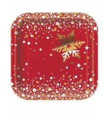 8 Petites assiettes en carton Noël rouge et or 18 cm