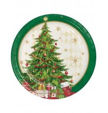 8 Petites assiettes en carton sapin de Noël 18 cm