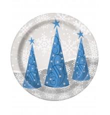 8 Petites Assiettes à Motif Flocons et Renne de Noël