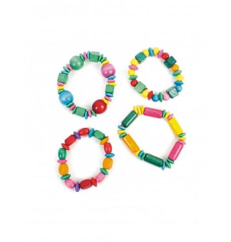 Accessoire pinata bracelet en bois multicolore 16 cm