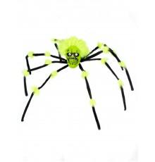 Araignée géante avec tête de mort noire et verte 70 cm