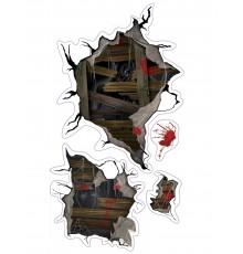 Décoration murale adhésive à motif monstre d'Halloween