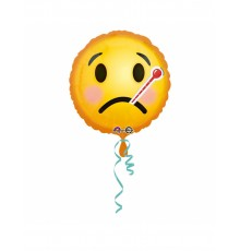 Ballon aluminium émoticône malade 43 cm