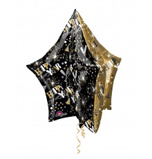 Ballon aluminium étoile noire et or
