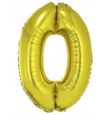 Ballon aluminium chiffre doré 0