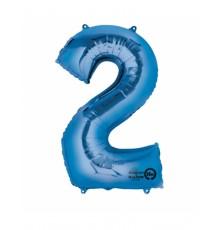Ballon aluminium chiffre 2 bleu 50 X 88 cm
