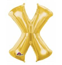 Ballon aluminium Lettre X doré 35 cm