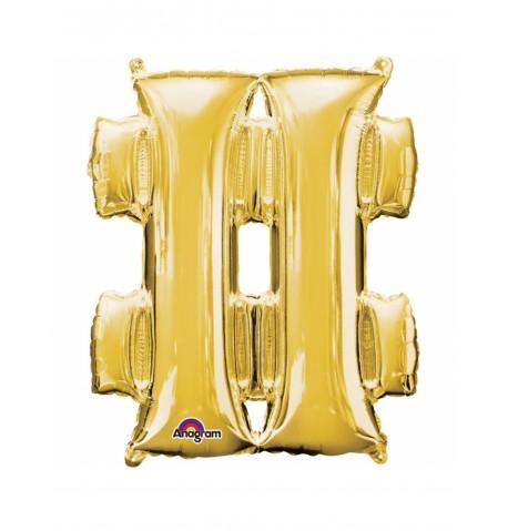 Ballon aluminium symbole  doré 33cm