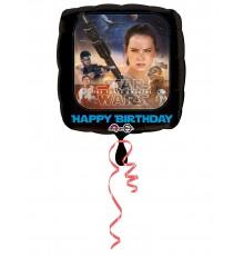 Ballon en aluminium carré joyeux anniversaire Star Wars VII